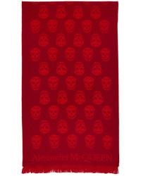 Alexander McQueen Red Orange Skull Scarf