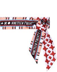 Fendi Reversible Printed Silk Twill Scarf Red