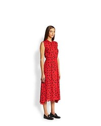 Band Of Outsiders Silk Bunny Print Shirtdress Red