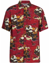 Red Print Short Sleeve Shirt