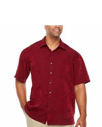 Van Heusen Air Jaquard Print Short Sleeve Button Front Shirt Big And Tall