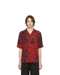 Alexander McQueen Black And Red Creeper Bowling Shirt