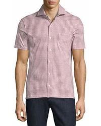 Isaia Geometric Print Short Sleeve Sport Shirt