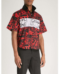 Prada Graphic Print Slim Fit Cotton Shirt
