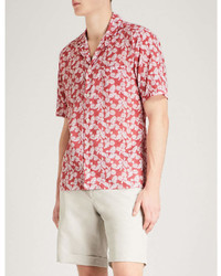 Eton Leaf And Polka Dot Print Slim Fit Cotton Shirt
