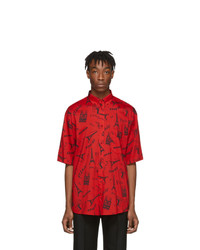 Balenciaga Red Crepe Tourist Shirt