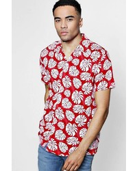Boohoo Red Short Sleeve Tropical Leaf Print Revere Shirt