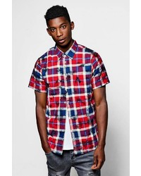 Boohoo Short Sleeve Over Dye Check Shirt