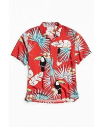 Urban Outfitters Uo Electric Toucan Rayon Short Sleeve Button Down Shirt