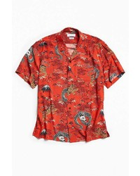 Urban Outfitters Uo Red Dragon Rayon Short Sleeve Button Down Shirt