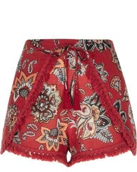 River Island Red Print Runner Shorts