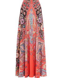 Printed silk crepe de chine maxi skirt coral medium 629776