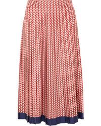 Valentino Pleated Printed Silk Twill Midi Skirt