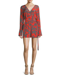 Diane von Furstenberg Long Sleeve Faux Wrap V Neck Printed Silk Romper