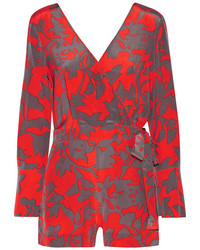 Diane von Furstenberg Wrap Effect Printed Silk Crepe De Chine Playsuit Red