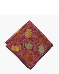 Red Print Silk Pocket Square