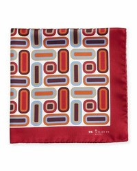 Kiton Rectangle Square Printed Silk Pocket Square Red