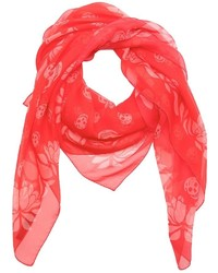 Alexander McQueen Red Floral And Skull Print Silk Crepe Scarf