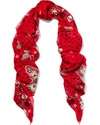 Alexander McQueen Frayed Printed Silk And Modal Blend Scarf Red