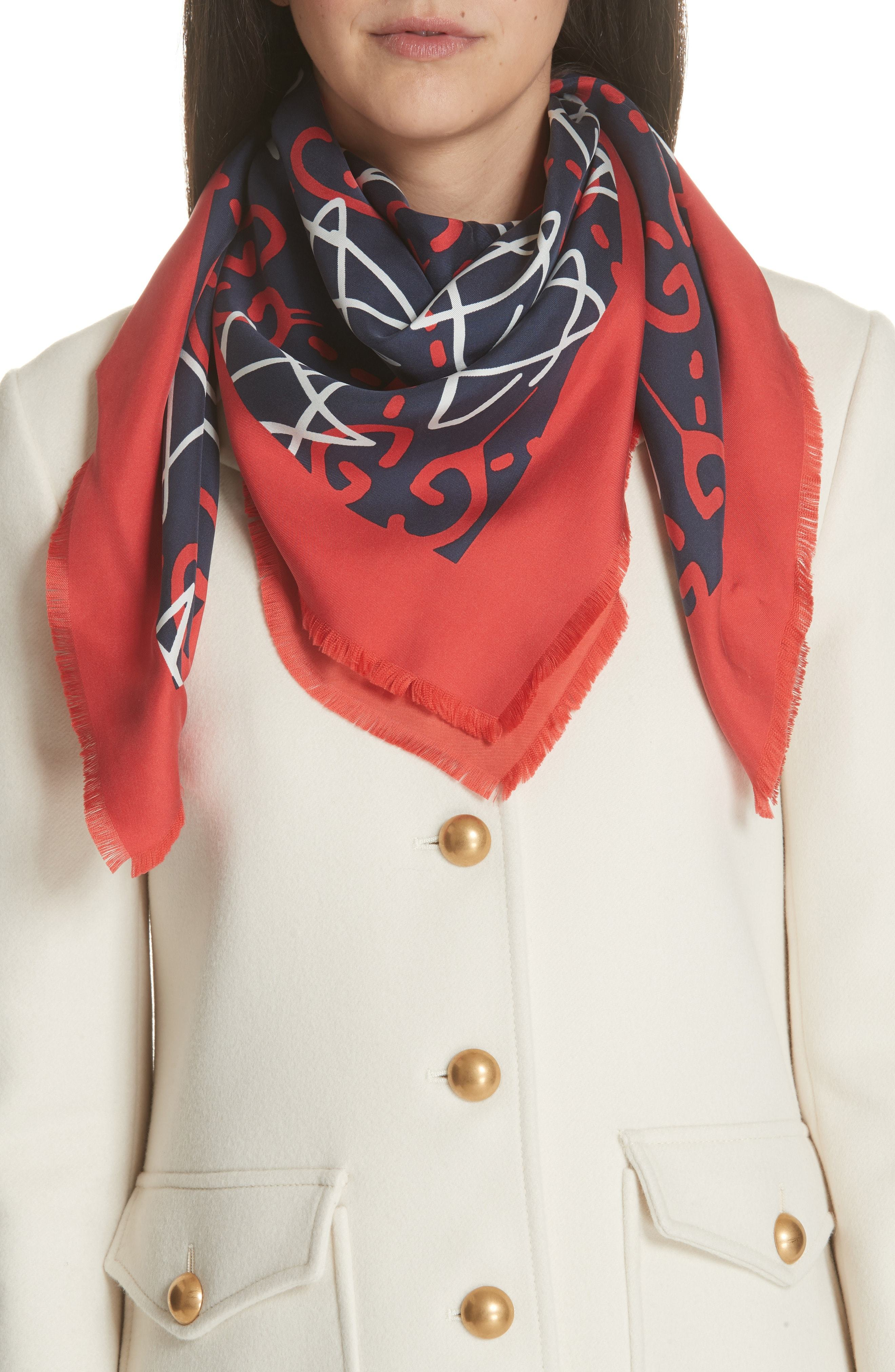 a77c0fe50 ... Nordstrom › Gucci › Red Print Silk Scarves Gucci Ghost Stars Silk  Square Scarf