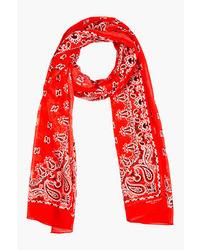 Saint Laurent Red Paisley Silk Cashmere Scarf