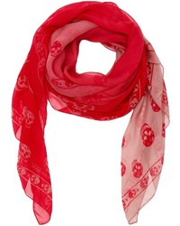Alexander McQueen Red Skull Print Silk Scarf