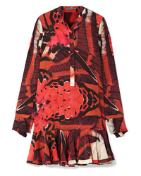 Alexander McQueen Fluted Printed Silk Crepe De Chine Mini Dress