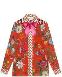 Gucci Flora Snake Print Silk Shirt