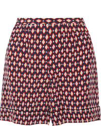 Marc Jacobs Printed Silk Crepe De Chine Shorts Red