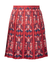 Valentino Pleated Printed Silk Mini Skirt