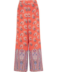 Etro Printed Silk Crepe De Chine Wide Leg Pants Coral