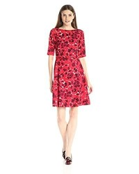 Anne Klein Printed Elbow Sleeve Fit And Flare Dress