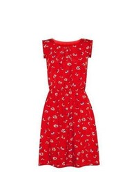 Apricot New Look Red Daisy Print Pleat Sleeve Skater Dress