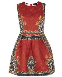 Ax Paris Navy And Red Baroque Print Skater Dress