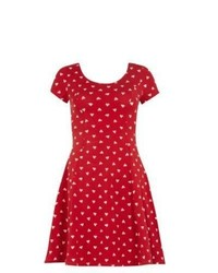 Exclusives New Look Red Heart Print Skater Dress