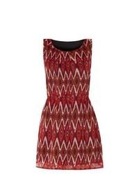 Mela New Look Red Zig Zag Print Skater Dress