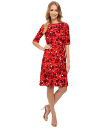 Anne Klein Printed Twill Elbow Sleeve Fit And Flare Dress