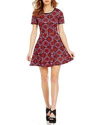 Sequin Hearts Motif Print Skater Dress