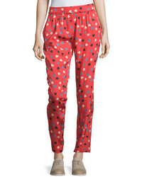 See by Chloe Pleated Front Heart  Dot Print Pants Redmulti