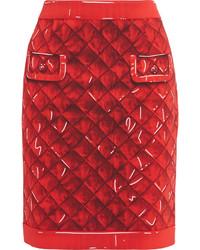 Moschino Printed Crepe Skirt Red