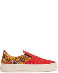 Balenciaga Printed Satin Slip On Sneakers Red