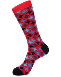 Jared Lang Diamond Print Cotton Blend Socks Red Pattern
