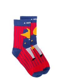 MAISON KITSUNÉ Maison Kitsun X Ader Error Fox Print Socks