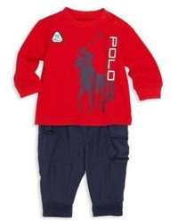 Ralph Lauren Babys Two Piece Graphic Tee Cargo Jogger Pants Set