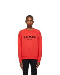 Balmain Red Flocked Logo Sweatshirt