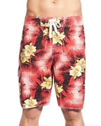 Red Print Swim Shorts