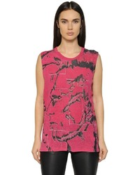 Diesel Printed Rayon Jersey Sleeveless T Shirt