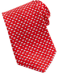 Salvatore Ferragamo Baseball Print Silk Tie Red