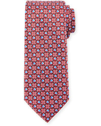 Ermenegildo Zegna Boxed Flower Print Silk Tie Red