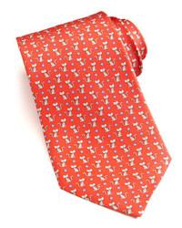 Salvatore Ferragamo Cat Print Silk Tie Red